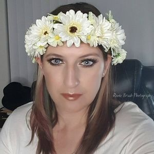 Accessories - Boho silk flower crown - white daisy